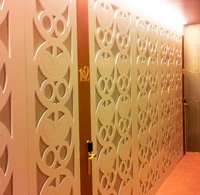 Covering walls and doors with numerical control cutting. Munia hotel. Oviedo.