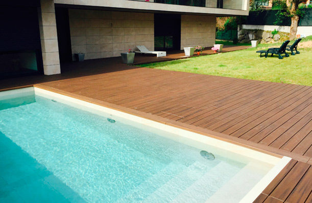 Outdoor swimming pool floor. Private house.