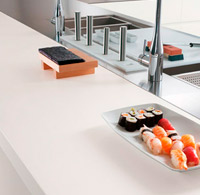 Custom table kitchen and furniture Corian.