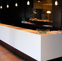 Corian counter and covering walls. Hotel Spa. Gijón.